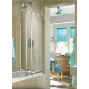 Aqualux Folding Bath Screen Silver/Clear 840 x 1400mm