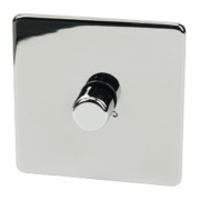 Crabtree 1-Gang 2-Way 250W Dimmer Polished Chrome Flt Plt