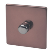 Varilight 1-Gang 1 / 2-Way Mocha Push Dimmer 1 x 400W