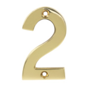 Door Numeral No. 2 Polished Brass Effect
