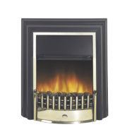 Dimplex Cheriton Traditional Freestanding Electric Fire Black finish wih brass effect fret and trim 2kW