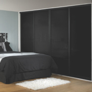 Unbranded 4 Door Sliding Wardrobe Doors Black Frame Black Glass Panel 2925 x 2330mm