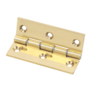 Eclipse Double Steel Washered Hinge Polished Brass 51 x 76mm Pack of 2
