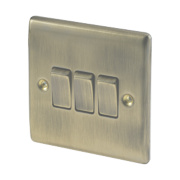 British General 3-Gang 2-Way 10AX Light Switch Antique Brass