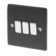 British General 3-Gang 2-Way 10AX Light Switch Matt Black
