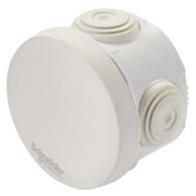 Round 4-Terminal Junction Box with Knockouts Grey 60mm