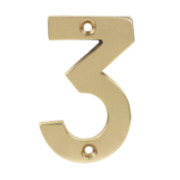 Door Numeral 3 Polished Brass Effect