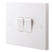 British General 2-Gang 2-Way 10AX Light Switch White