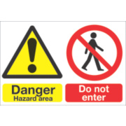 DANGER HAZARD AREA SIGN EACH