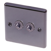 LAP 2-Gang 2-Way 10AX Toggle Switch Black Nickel