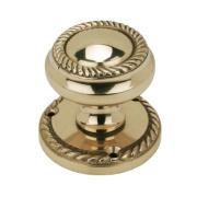 Georgian Mortice Knob Pair Polished Brass 51mm