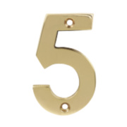 Door Numeral 5 Polished Brass Effect