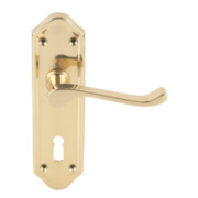 Jedo Sherborne Lever on Backplate Door Handle Pair Polished Brass