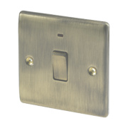 British General 20A 1-Gang DP Switch with LED Antique Brass