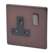 Varilight 1-Gang 13A Mocha DP Switched Socket with Metal Rocker
