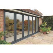 Bi-Fold Double-Glazed Patio Door Grey Aluminium 4708 x 2094mm