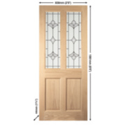 Jeld-Wen Wetherby 2-Light Glazed Exterior Door Oak Veneer 838 x 1981mm