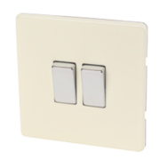 Varilight 2-Gang 2-Way 10A White Choc Metal Rocker Switch