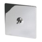 LAP 1-Gang 2-Way 10AX Toggle Switch Polished Chrome