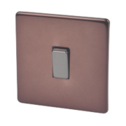 Varilight 1-Gang 2-Way 10A Mocha Metal Rocker Switch