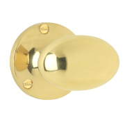Jedo Double Sprung Victorian Oval Mortice Knob Pair Polished Brass 60mm