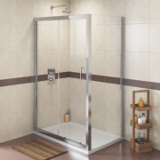 Rectangular Shower Enclosure Polished Silver 1155mm