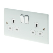 British General 13A 2-Gang DP Switched Plug Socket Polished White