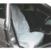 Metro Disposable Plastic Vehicle Protective Seat Covers White Pack of 5