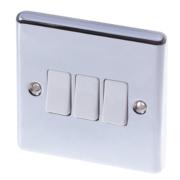 LAP 3-Gang 2-Way 10AX Light Switch Polished Chrome