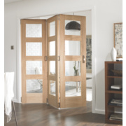 Jeld-Wen Dowel construction Glazed 3-Door Interior Room Divider Oak Veneer 2044 x 1939mm