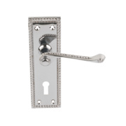 Georgian Scroll Long Backplate Door Handle Pair Polished Chrome