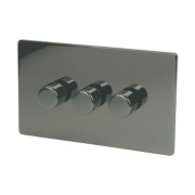 LAP 3-Gang 2-Way Dimmer Switch Mains/Low Voltage 250W Black Nickel