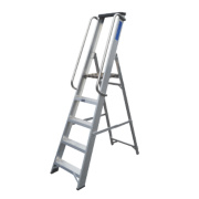 Lyte Heavy Duty Platform Ladder & Safety Handrails Aluminium 5 Treads 1.68m