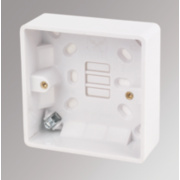 LAP 1-Gang Surface Pattress Box with Earth Terminal White 28mm