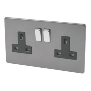 Varilight 2-Gang 13A DP Switched Socket Slate Grey