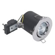 Sylvania Adjustable Round Mains Voltage Fire Rated Downlight Pol. Chr 240V