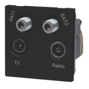 LAP TV, FM & 2 Satellite Quadruplex Grid Module Black
