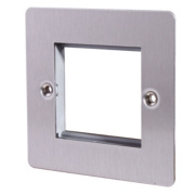LAP 1-Gang Front Plate with Double Module Aperture + Earth Stainless Steel