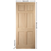 Jeld-Wen Colonial 6-Panel Exterior Door Oak Veneer 762 x 1981mm