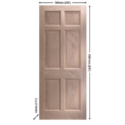 Jeld-Wen Eversley Multipurpose Exterior Door Unfinished Oak Veneer 762 x 1981mm