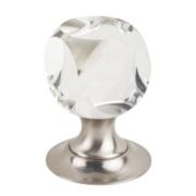 Jedo Victorian Dice Glass Mortice Knob Pair Satin Nickel 60mm