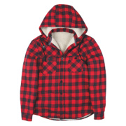 Site Cedar Borg-Lined Hoodie Red Check Medium 39-41