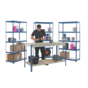 Workshop Workbench & 3-Bay Shelving Starter Kit Blue & White x 450 x mm