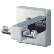 Aqualux Haceka Mezzo Double Bathroom Robe Hook Chrome 55 x 53 x 50mm