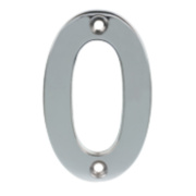 Door Numeral No. 0 Polished Chrome
