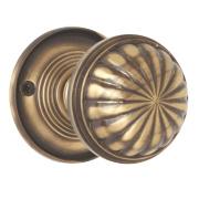 Jedo Fluted Mortice Door Knob Pack Antique Bronze 65mm Pack of 2