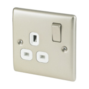 British General 13A 1-Gang DP Switched Plug Socket Pearl Nickel