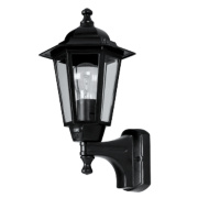 60W Black 6-Panel Coach Lantern Outdoor Wall Light PIR