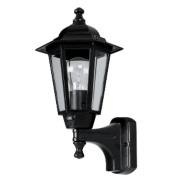 60W Black 6-Panel Coach Lantern Outdoor Wall Light PIR