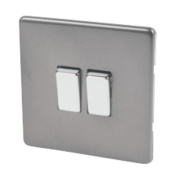 Varilight 2-Gang 2-Way 10A Slate Grey